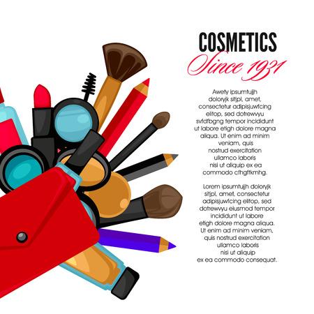 lipstick brush: Cosmetics and fashion make up objects mirror, lipstick andcream, case, brush. Vector Illustration. Illustration