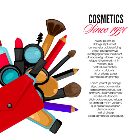 Cosmetics and fashion make up objects mirror, lipstick andcream, case, brush. Vector Illustration. Illustration