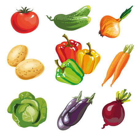 Vegetable set cartoon hand drawn collection. Vector Illustration of tomato and potato, paprica cucumber onion, aubergine eggplant cabage, carrot. Isolated on white. Illustration