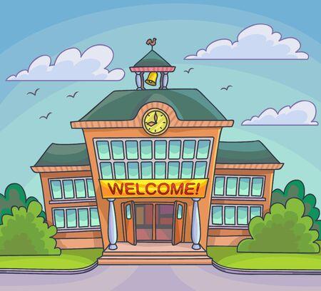 bâtiment scolaire illustration de bande dessinée lumineux pour revenir à la bannière de l'école ou la conception d'affiches