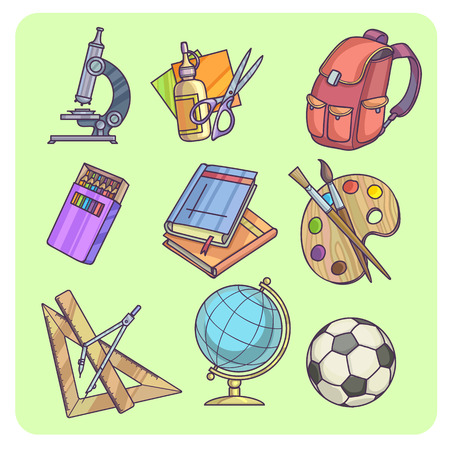 office accessories: Back to School supplies and learning equipment or office accessories Vector illustration Illustration