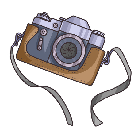 strap: Retro or vintage camera. Cartoon flat style on a white background. Old with strap. Vector Illustration.