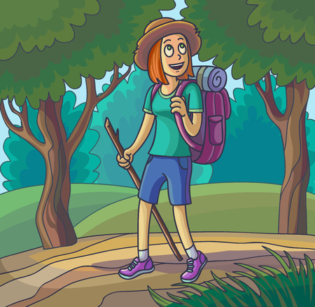 Hiking girl. Travelling young woman lost or walking in forest. Vector illustration. Illustration