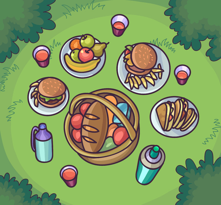 Picnic food in the meadow. Flat cartoon outdoor meal set. Different dishes. Top view background. Vector Illustration. Illustration