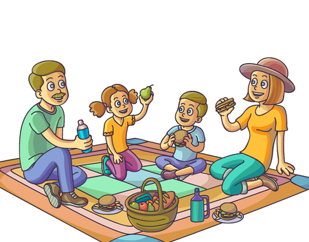 happy family: Happy family having a picnic in park. Vector Illustration.