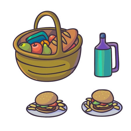 Picnic food set. Flat cartoon outdoor meal. Different dishes. Top view background. Vector Illustration.