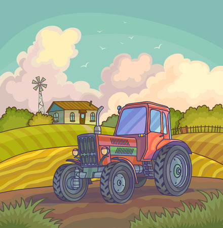 Harvest time. Farm rural landscape with fields. Vector background illustration. Illustration