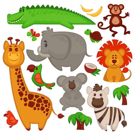 Vector set van verschillende schattige Afrikaanse dieren. Vector Illustratie.