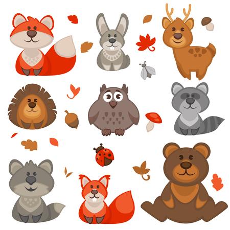 Conjunto de animales lindos del bosque de dibujos animados. Ilustración del vector. Ilustración de vector