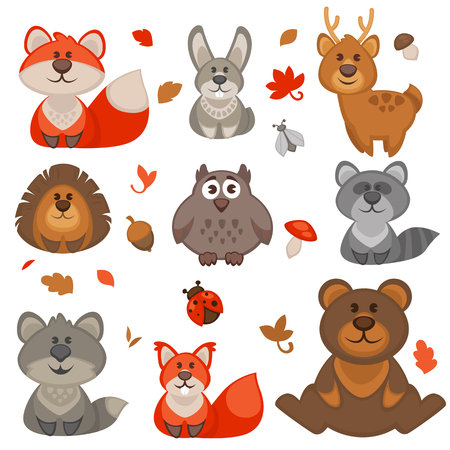 Reeks leuke cartoon dieren in het bos. Vector Illustratie.