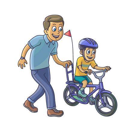 自転車に乗る彼の幼い息子を父に学ぶ。ベクター イラストを描く。  イラスト・ベクター素材
