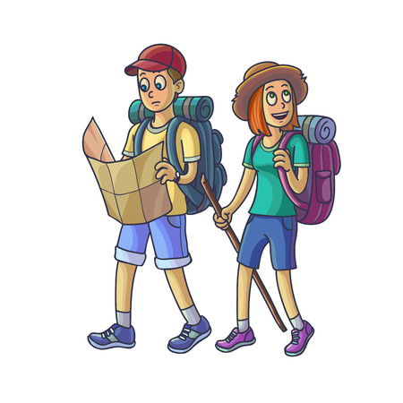 Family Hiking. Young Couple in the Campaign. Nature scene. Vector Illustration. Illustration