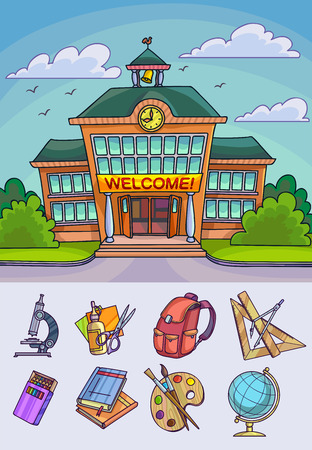 office accessories: Back to school illustration. Building and supplies learning equipment or office accessories. Vector illustration.
