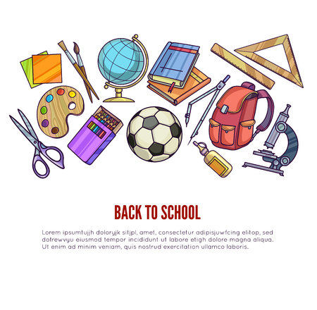 office accessories: Back to School supplies and learning equipment or office accessories for poster design. Vector illustration