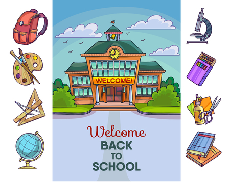 Back to school illustration. Building and supplies learning equipment or office accessories. Vector illustration.
