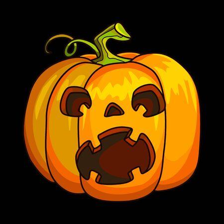 Holiday Halloween Pumpkin Jack Lantern. Vector Illustration