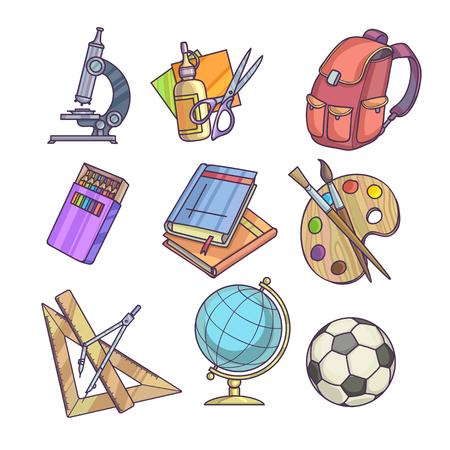 utiles escolares: Fuentes de regreso a escuelas y equipo de oficina o de aprendizaje ilustración vectorial accesorios