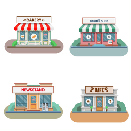 restaurant exterior: Flower shop, laundry, barber, bakery and newsstand, cafe facade in the town. Vector illustration Illustration