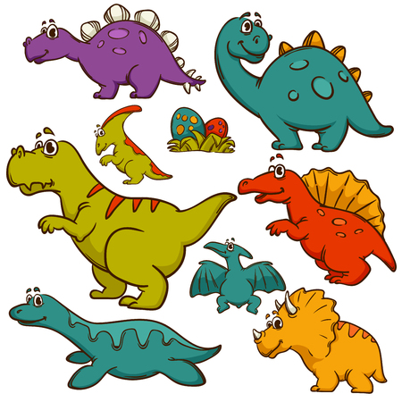 pteranodon: Dinosaur collection set. Dinosaurs cute color monster animal and prehistoric. Cartoon style. Vector Illustration. Illustration