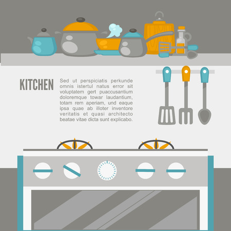 pans: Kitchen Interior, pans on the stove, cooking. Vector illustration. Flat style.