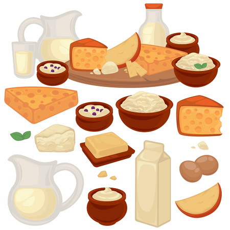 Set of healthy dairy products: milk, cottage cheese, butter, yogurt, sour cream, eggs. Jug, bottle, glass and packaging of milk. Vector illustration Illustration