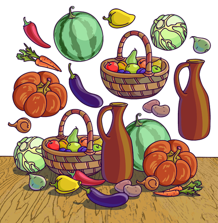 fresh vegetable: Autumn harvesting. Vector illustration of group of many fruit and vegetable. Fresh vegetables and fruits. Healthy Food.