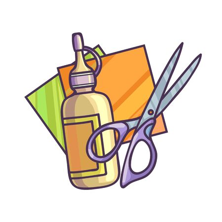 art and craft equipment: Glue paper and scissors. Vector Illustration. Isolated on white. Illustration