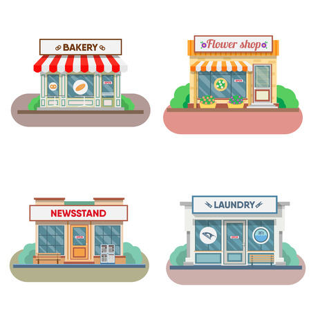 newsstand: Flower shop, laundry, bakery facade in the town. Vector illustration