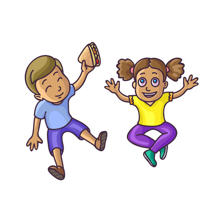 top veiw: Boy and girl sitting on floor top veiw. Happy children kids. Vector Illustration. Isolated on white. Illustration