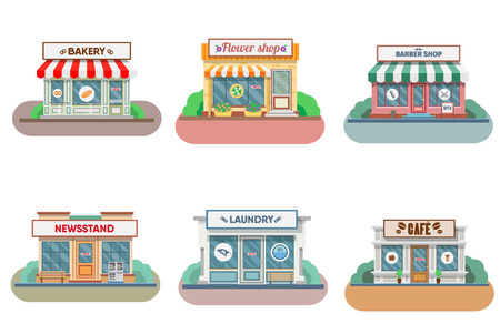 Bloemenwinkel, wasserette, kapper, bakker en kiosk, cafe gevel in de stad. vector illustratie