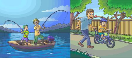 Una illustrazione vettoriale di un padre e un figlio andare a pescare su una barca, padre insegna al figlio ad andare in bicicletta.