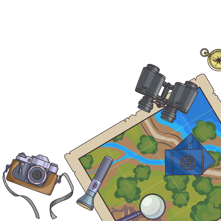 foto carnet: Tourism banner. Set of travel equipment on white passport, photo camera, compass, flashlight, binoculars. Adventure trip. Vector illustration. Vectores