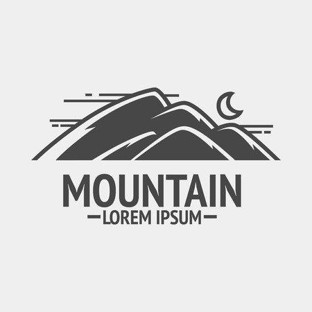 exploration: Mountain exploration vintage emblem or silhouette.