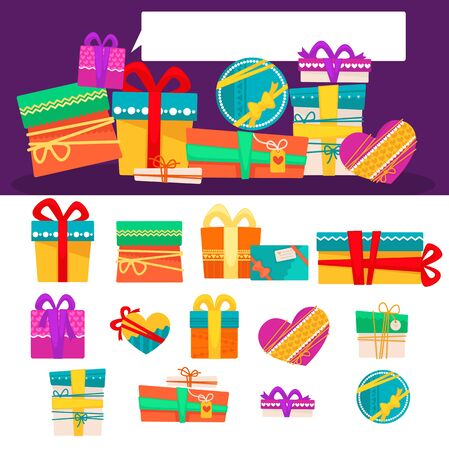 birthday presents: Vector set of different colorful gift boxes with ribbons and bows. Flat design. Banner with presents for christmas and birthday. Illustration isolated on white background