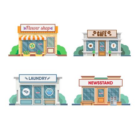 Bloemenwinkel, wasserette, kapper, cafe gevel in de stad. vector illustratie
