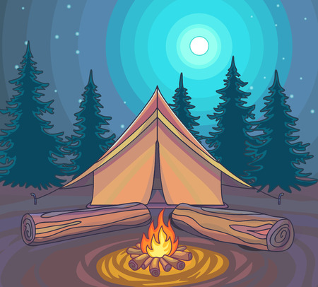 wilderness area: Camping or Hiking, outdoor recreation, adventures in nature. Evening camp. Night Nature Sciene. Cartoon Style. Vector Illustration. Illustration