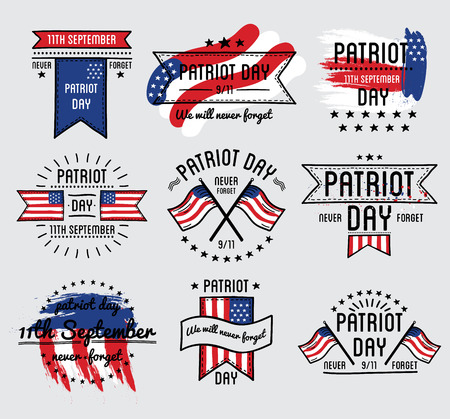 Patriot day vector set. September 11. 911. Vector Illustration.