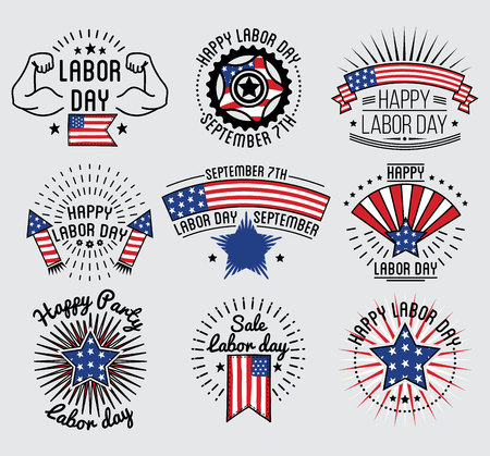 national holiday: Labor Day National holiday of the United States set badge and labels design. Vector Illustration. Illustration