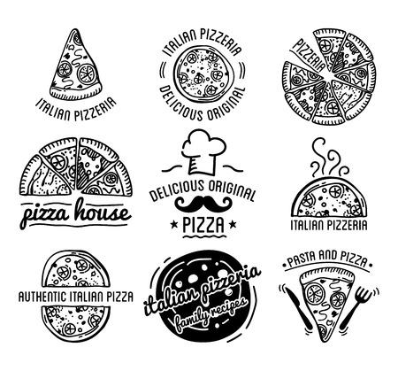 food restaurant: Pizza Label Design Typographic Set. Pizza festival or pizza fest.  Vintage food pizza   templates for restaurant. Vector Illustration. Illustration