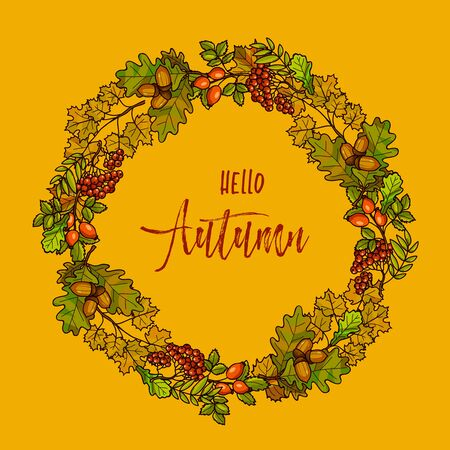 fall leaves background: Autumnal or fall round frame background. Wreath of autumn leaves. Vector illustration.