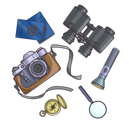 foto carnet: Conjunto de equipo de viaje sobre fondo blanco pasaporte, cámara de fotos, brújula, linterna, binoculares. viaje de aventura. Ilustración del vector.