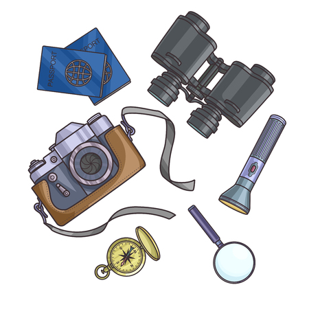 foto carnet: Set of travel equipment on white background passport, photo camera, compass, flashlight, binoculars. Adventure trip. Vector illustration.