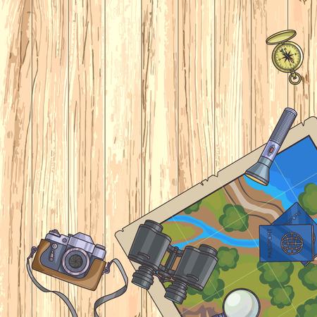 foto carnet: banner de turismo. Conjunto de equipo de viaje en el fondo de madera y el pasaporte, c�mara de fotos, br�jula, linterna, binoculares. viaje de aventura. Ilustraci�n del vector. Vectores