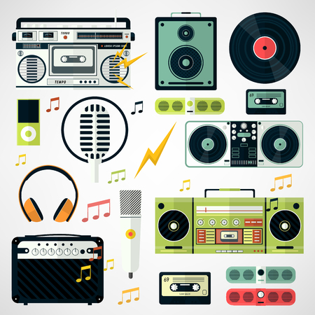 equipo de sonido: Conjunto de iconos de la música y el sonido. Vector icono de varios equipos de música estilizada en estilo plano. Ilustración aislado en blanco.