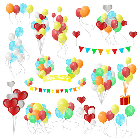 birthday decoration: Color Glossy Balloons. Set for holiday, birthday balloons, flags, gift, card. Party design decoration elements. Vector illustration isolated on white background