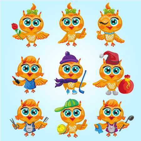 makeup artist: Vector set of cute owls. Cartoon characters of different professions. Make-up artist, hockey player, Santa Claus, hairdresser, athlete, housewife and other occupations. Isolated illustration on white Illustration
