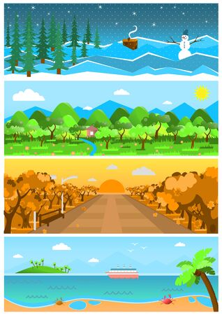 forest road: Set of nature backgrounds and landscapes with different seasons. Spring, summer, autumn, winter design. Banners with forest, road with sea. Beautiful vector illustrations.