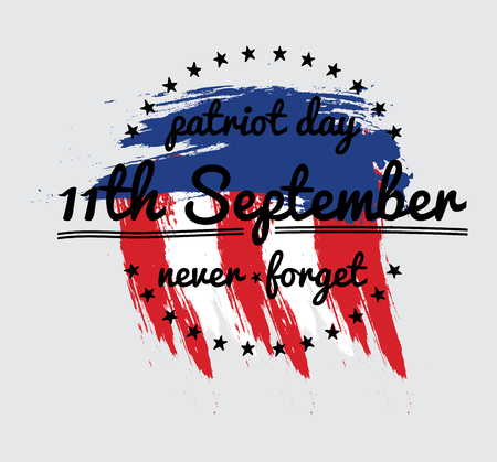 Patriot day vector label or banner. September 11. 911. Vector Illustration. Vetores
