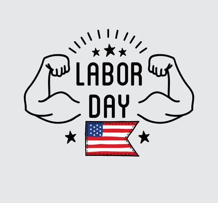 Labor Day National holiday of the United States badge or label design. Vector Illustration.