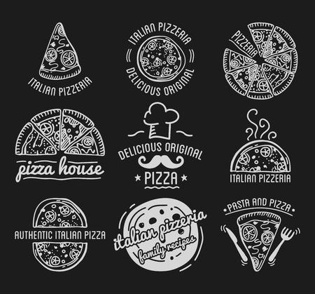 pizzeria label design: Pizza Label Design Typographic Set. Pizza festival or pizzafest. Vintage food pizza templates for restaurant. Vector Illustration.